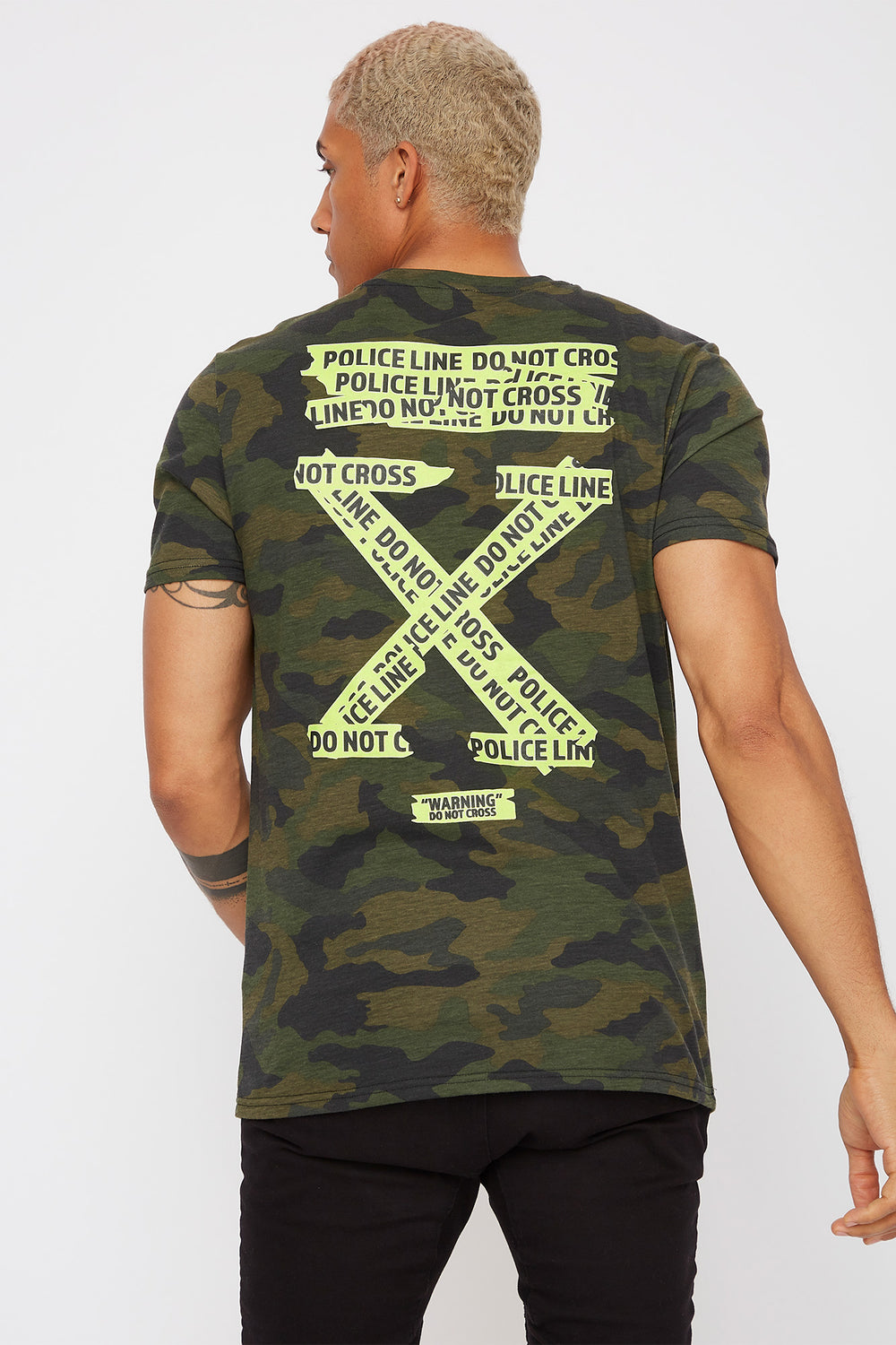 Caution Tape Graphic Camo T-Shirt Camouflage