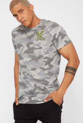 Caution Tape Graphic Camo T-Shirt