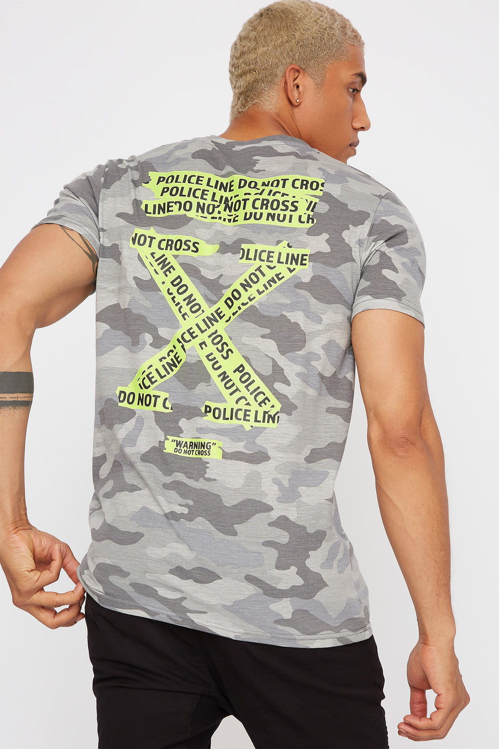 Caution Tape Graphic Camo T-Shirt Gingham
