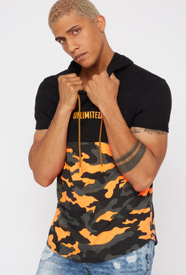 Hooded Graphic Contrast Camo T-Shirt