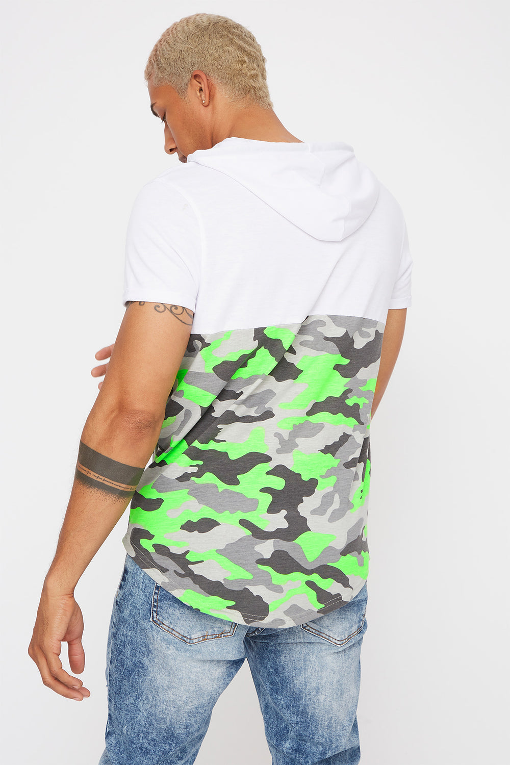 Hooded Graphic Contrast Camo T-Shirt White