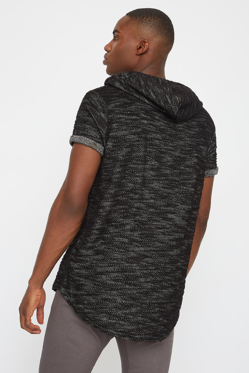 Textured Hooded T-Shirt Black