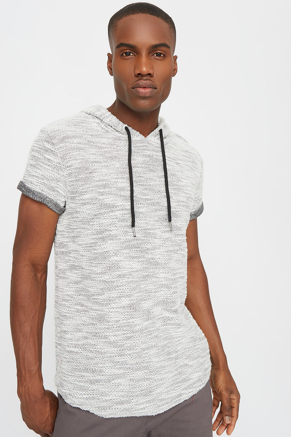 Textured Hooded T-Shirt White