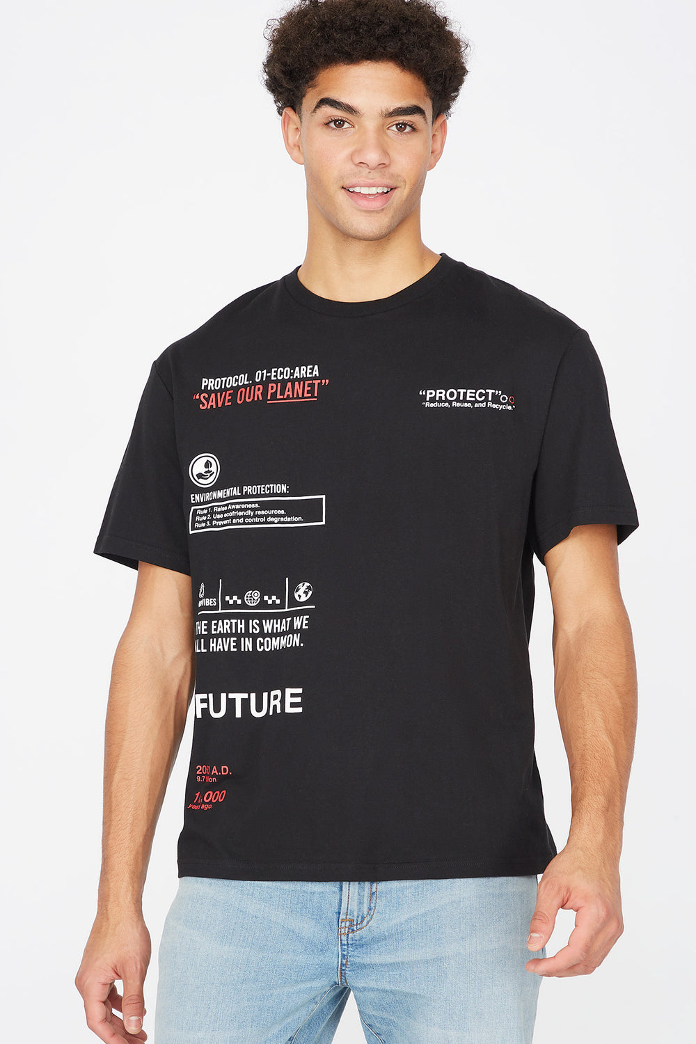 Save Our Planet Graphic Recycled Polyester Oversized T-Shirt Black