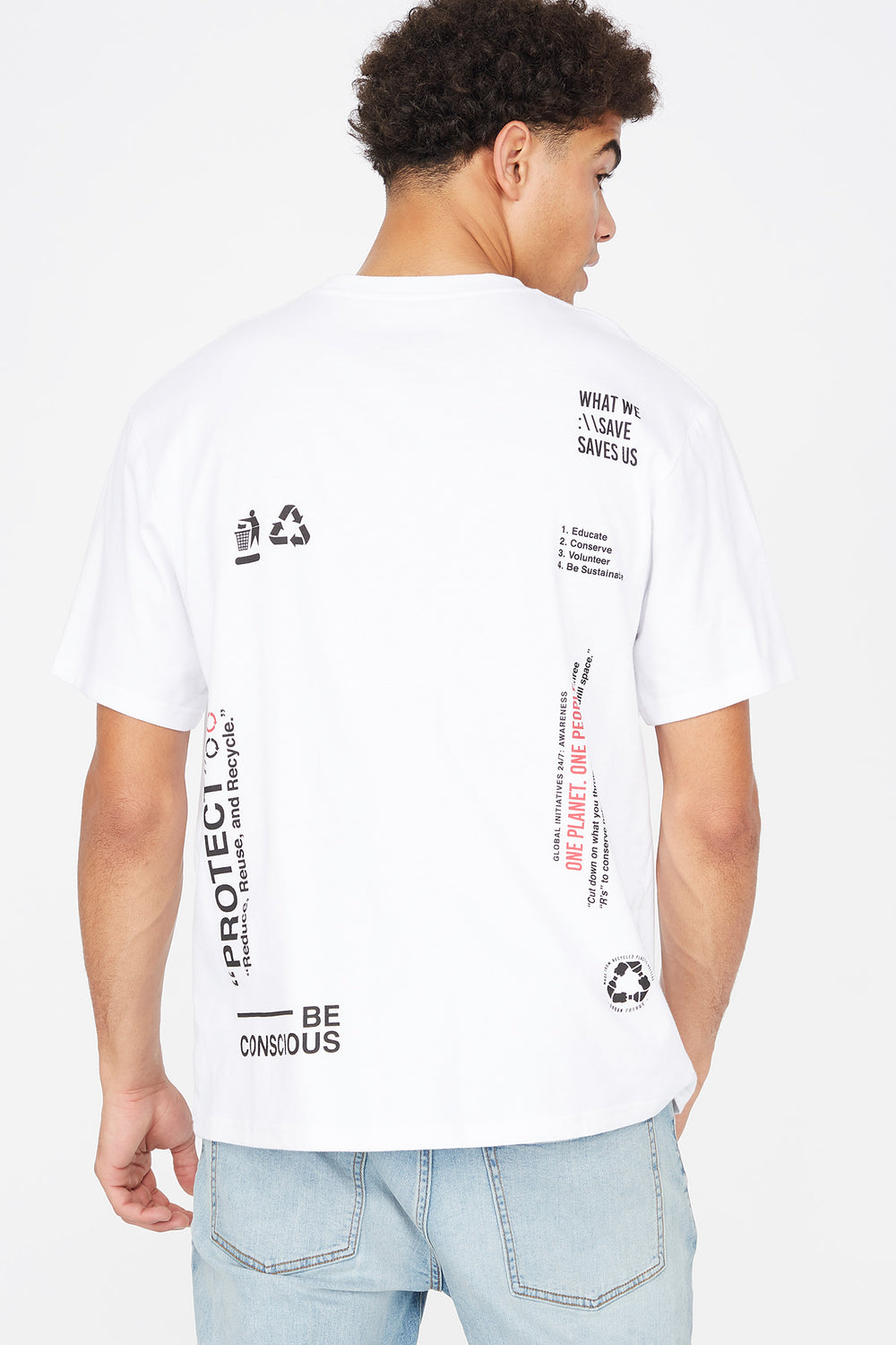 Save Our Planet Graphic Recycled Polyester Oversized T-Shirt White
