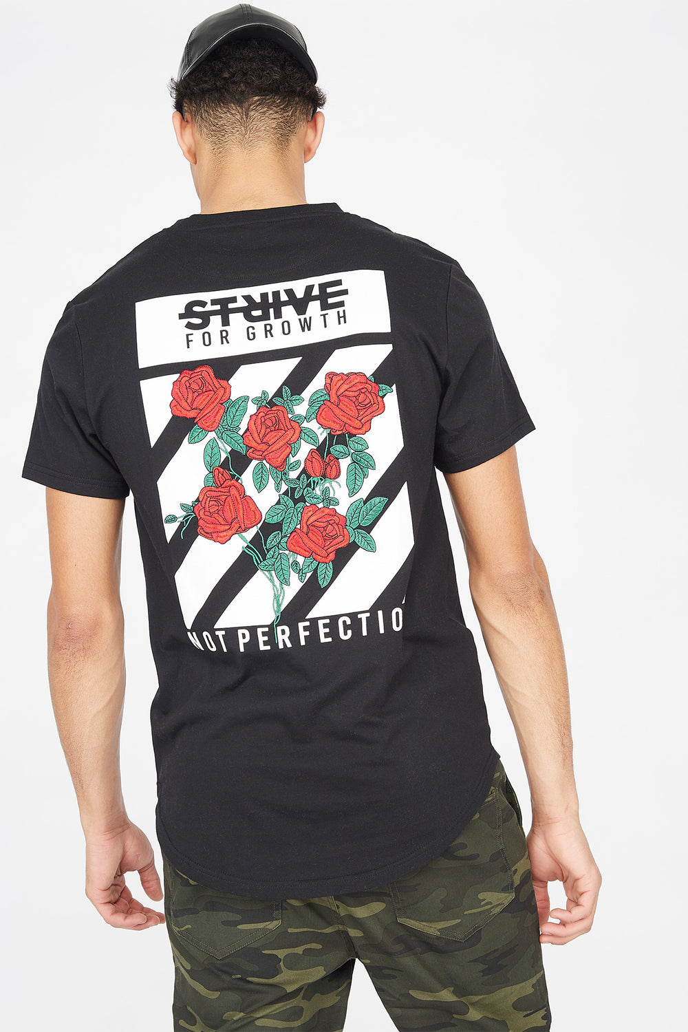Strive Embroidered Graphic Longline T-Shirt Black