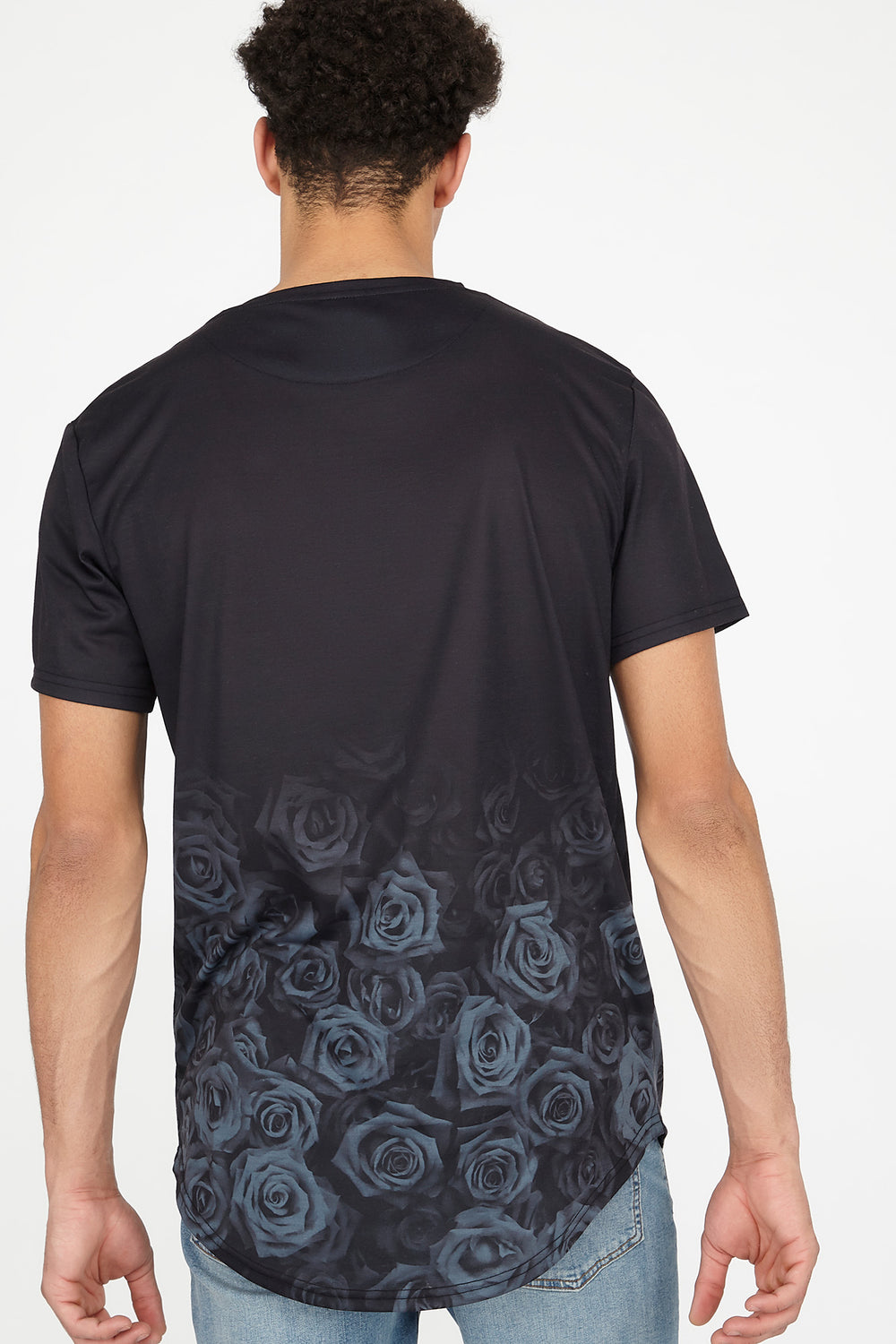 Floral Never Enough Embroidered Longline Graphic T-Shirt Black