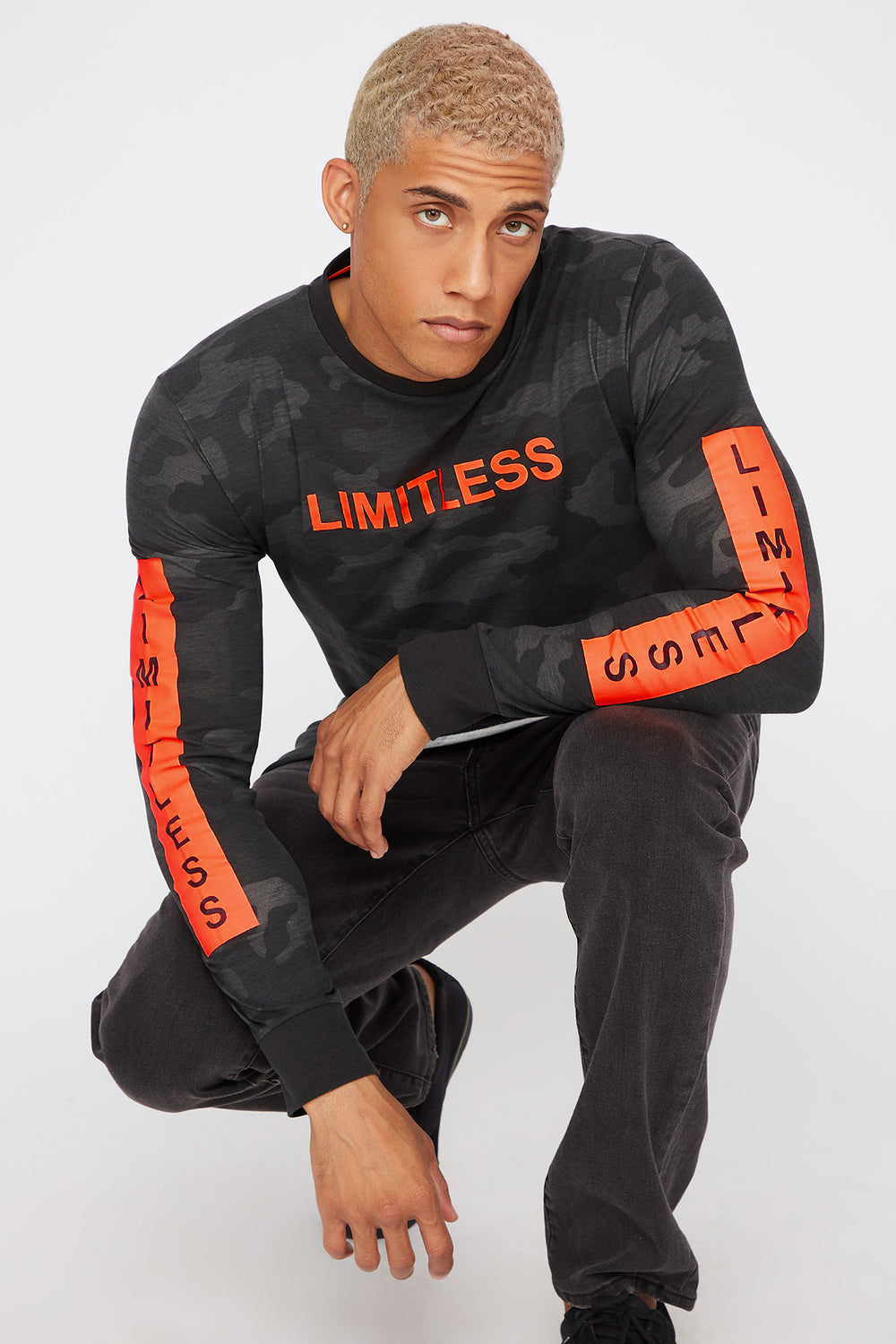 Graphic Neon Camo Long Sleeve Black with White