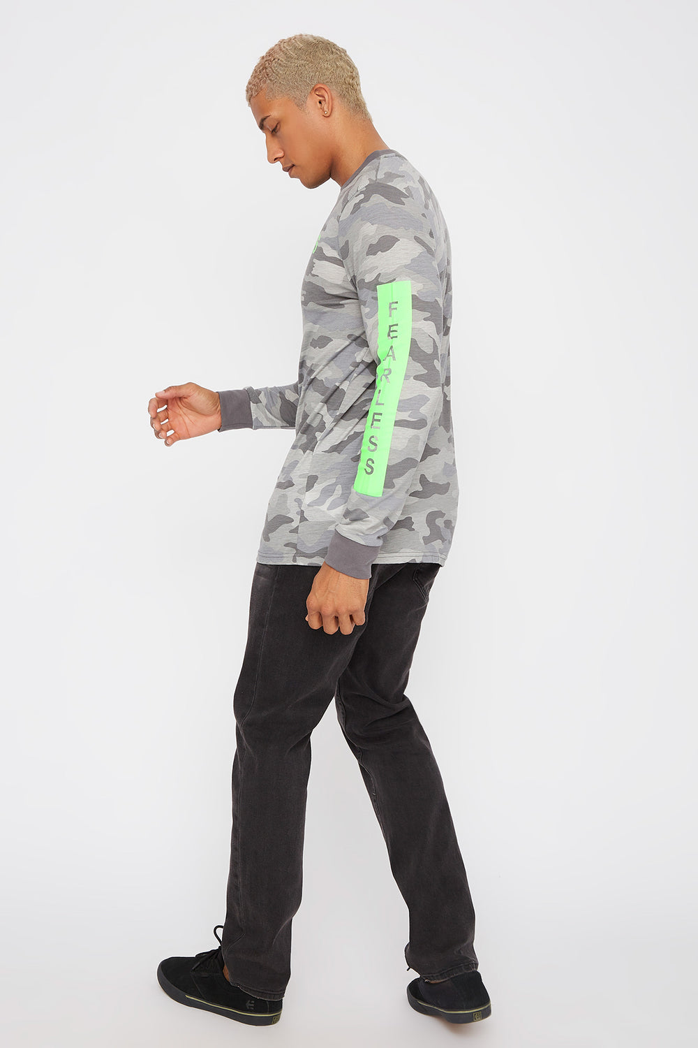 Graphic Neon Camo Long Sleeve Gingham