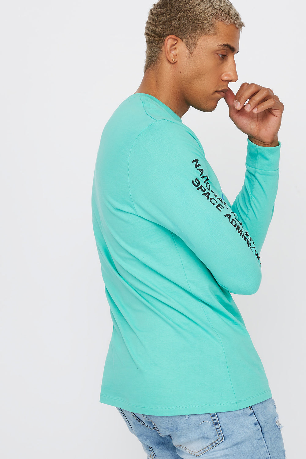 NASA Logo Graphic Crew Neck Long Sleeve Turquoise