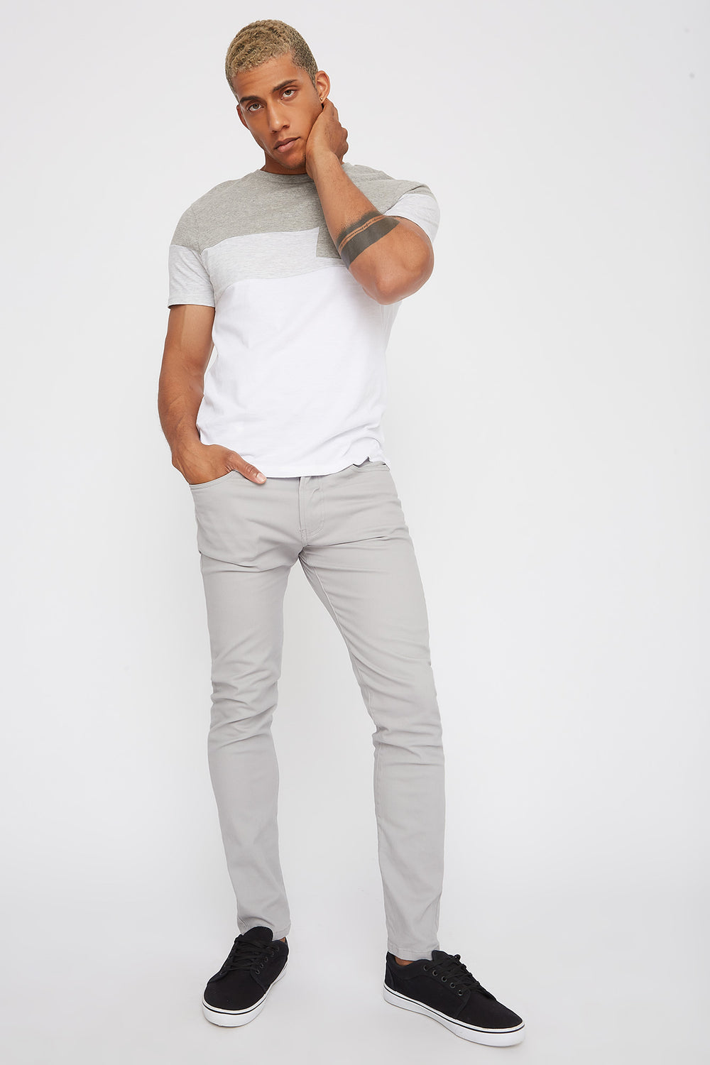 Low-Rise Twill Skinny Pant Light Grey