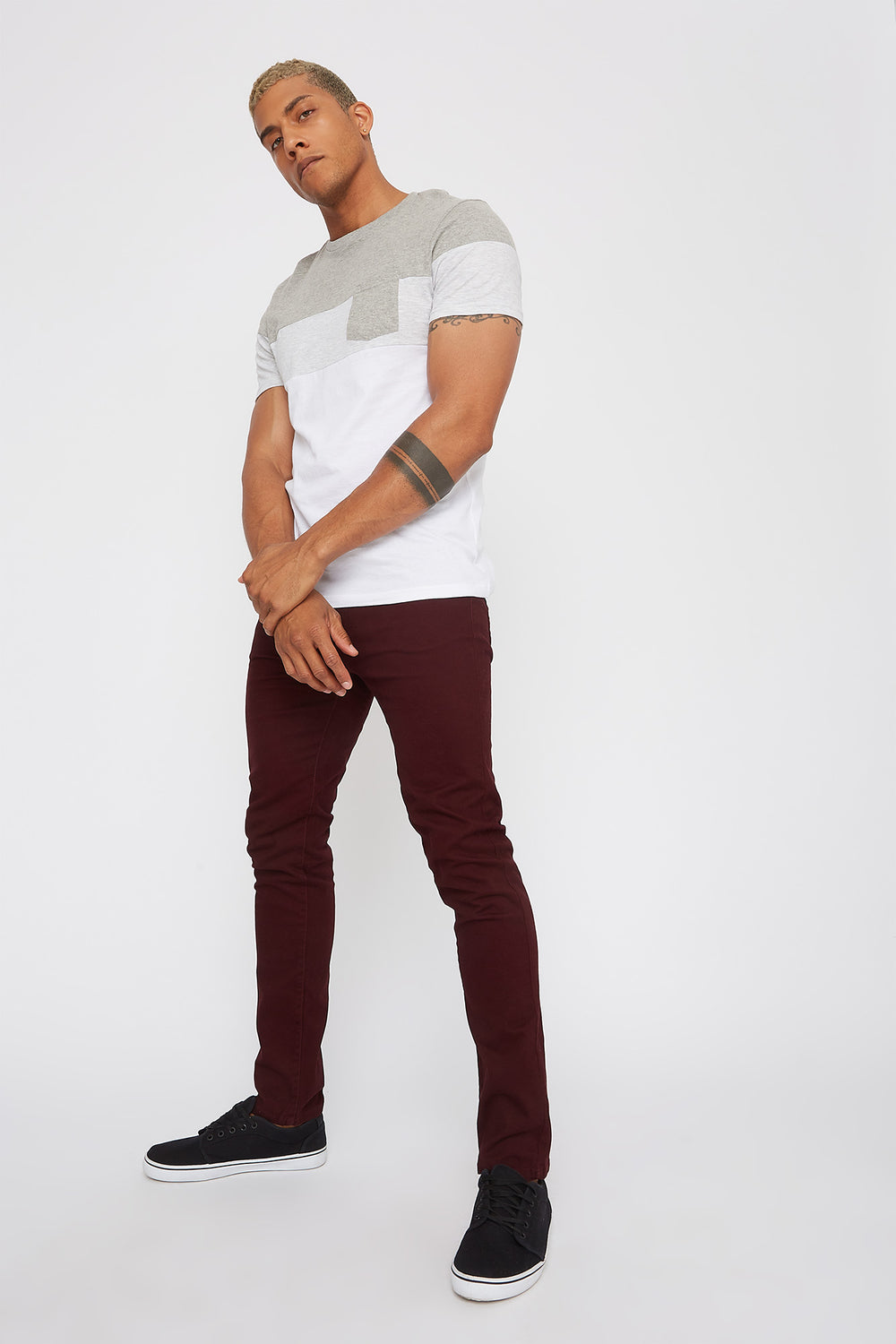 Low-Rise Twill Skinny Pant Burgundy