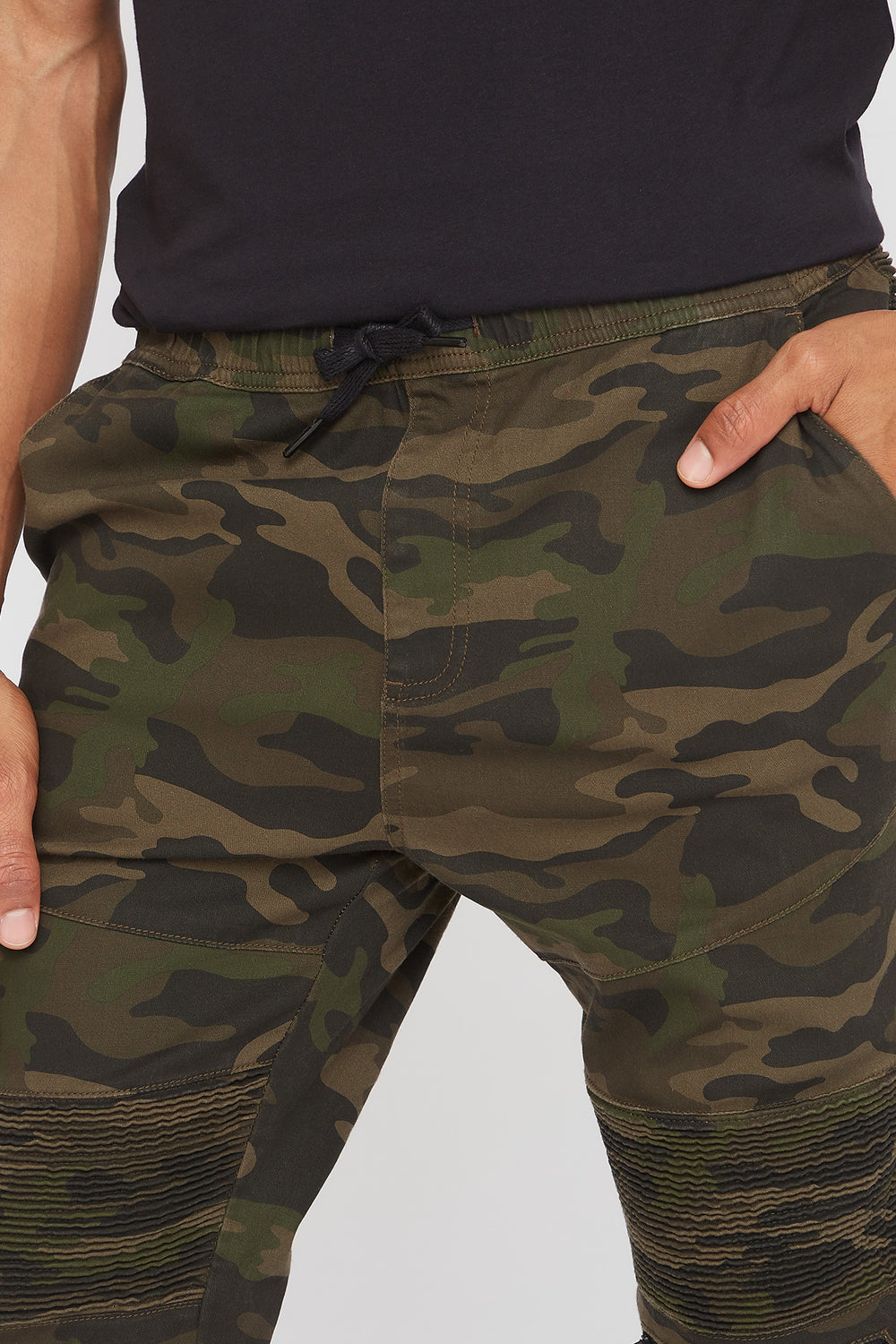 Camo Twill Ruched Moto Jogger Camouflage