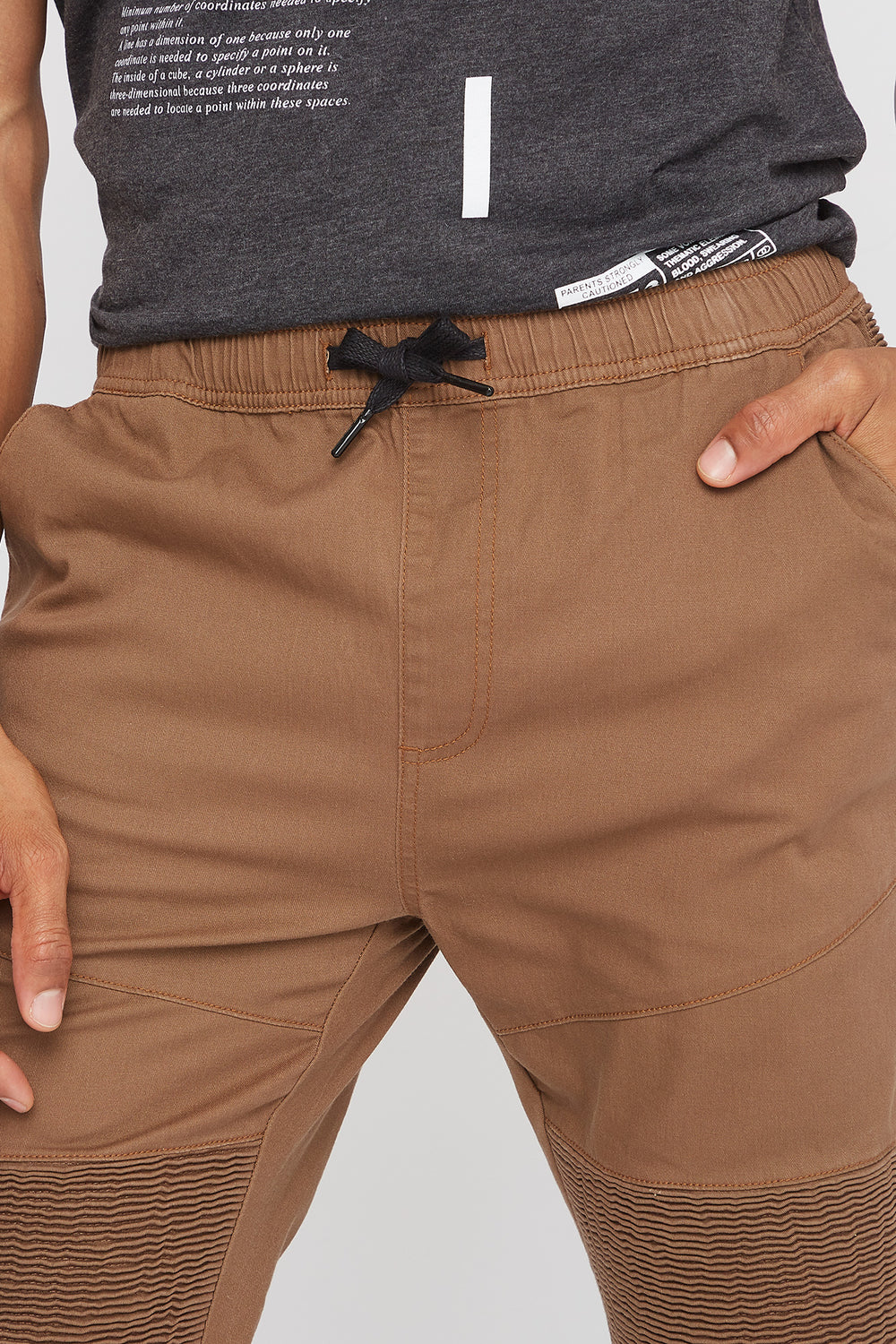 Twill Ruched Zip Moto Jogger Tan
