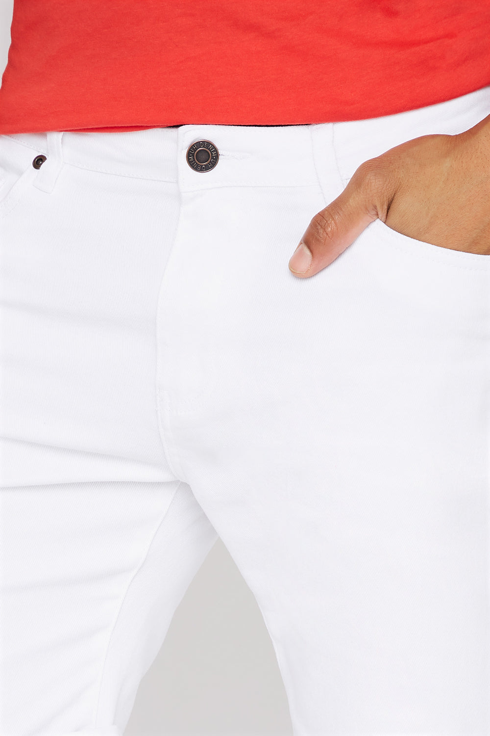 Cuffed Slim Denim Short White