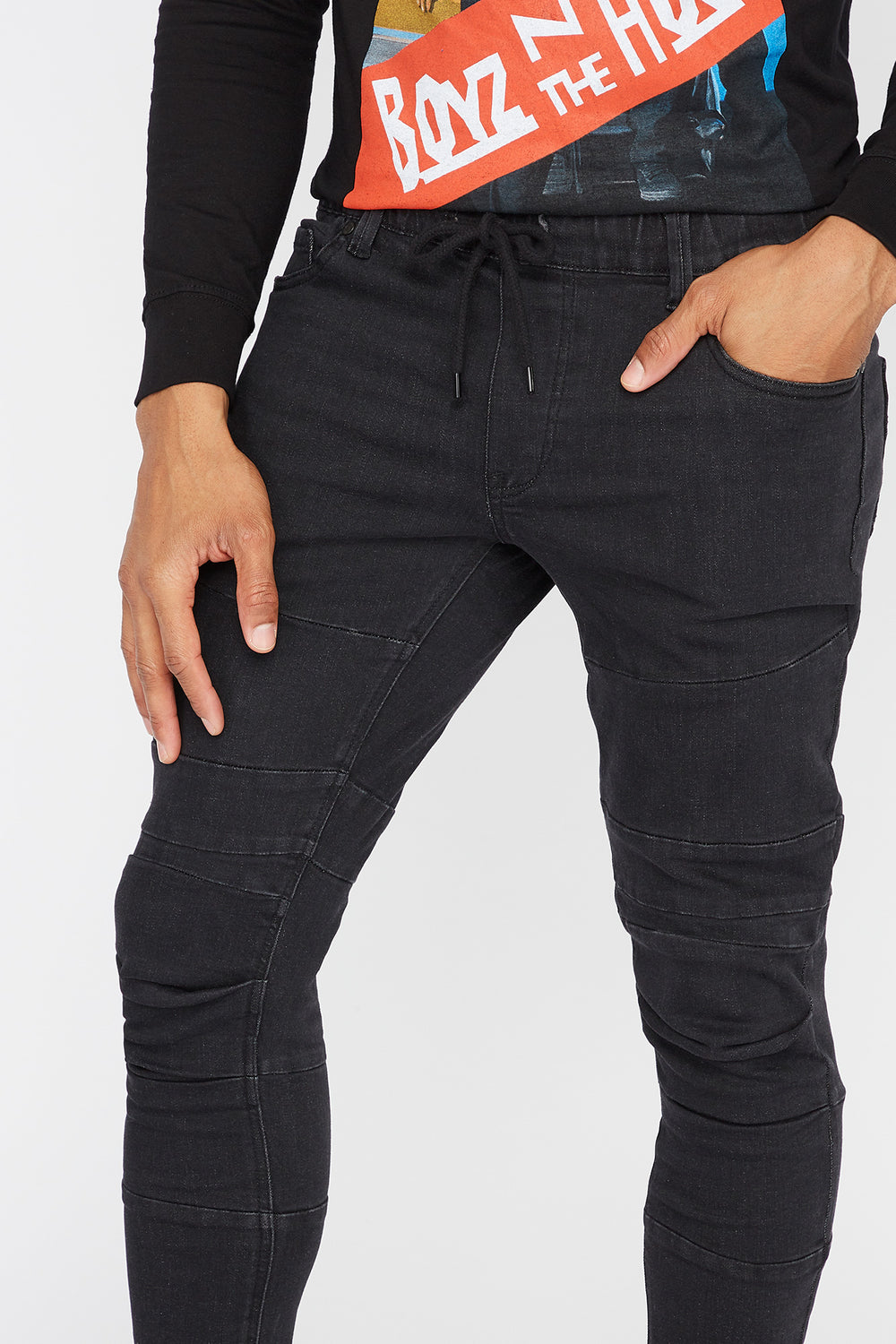 Black Ruched Knee Denim Jogger Black