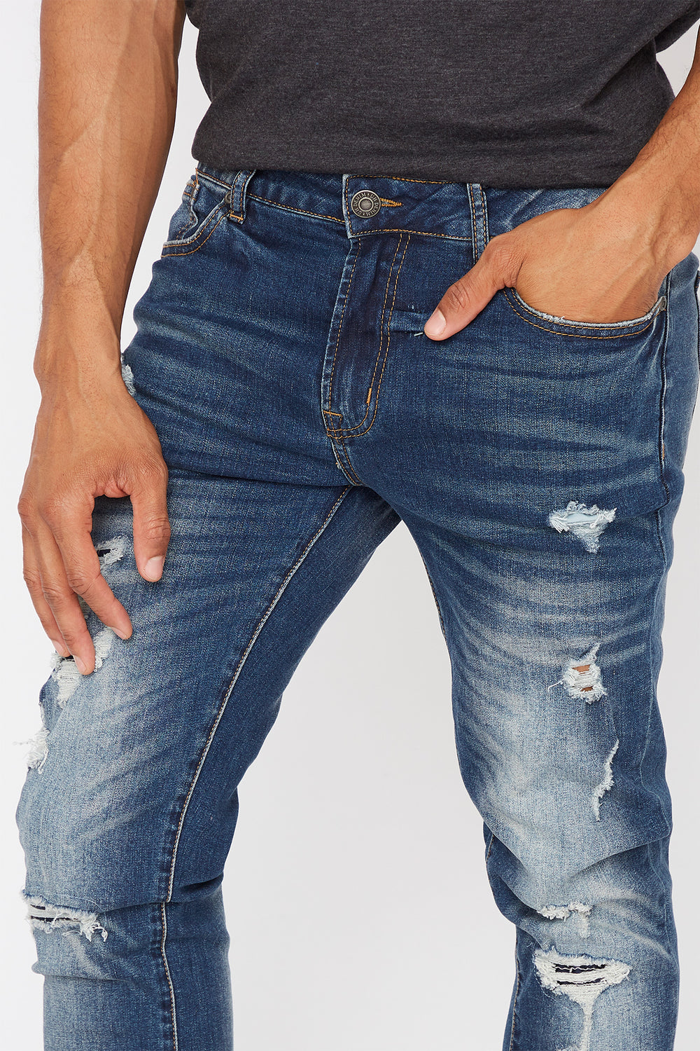 Distressed Dark Wash Skinny Jean Dark Blue