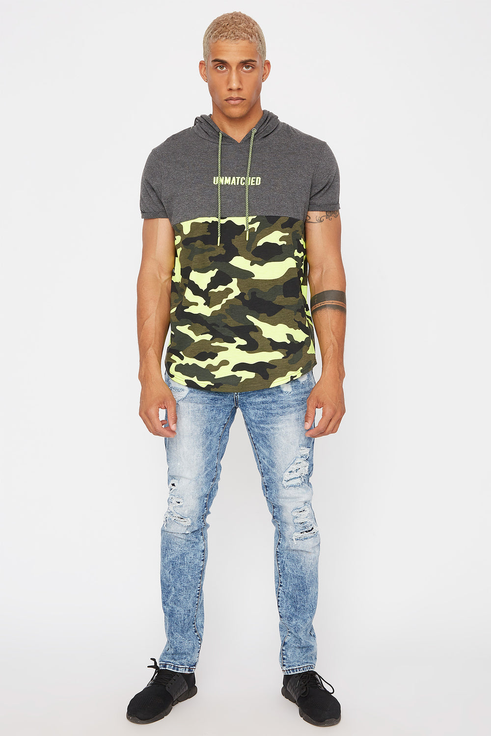 Acid Wash Distressed Skinny Jean Medium Blue