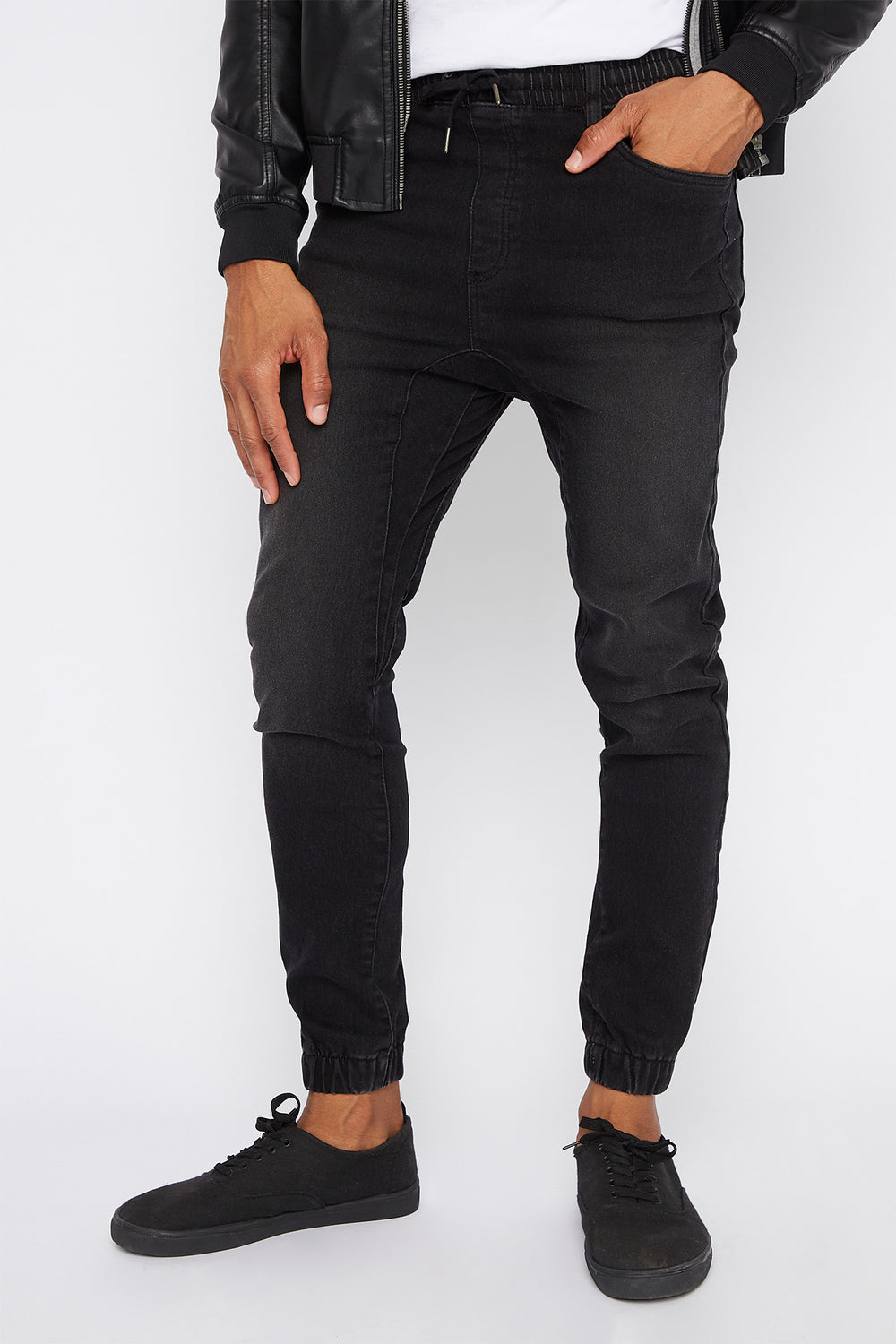 Acid Wash Denim Jogger Black
