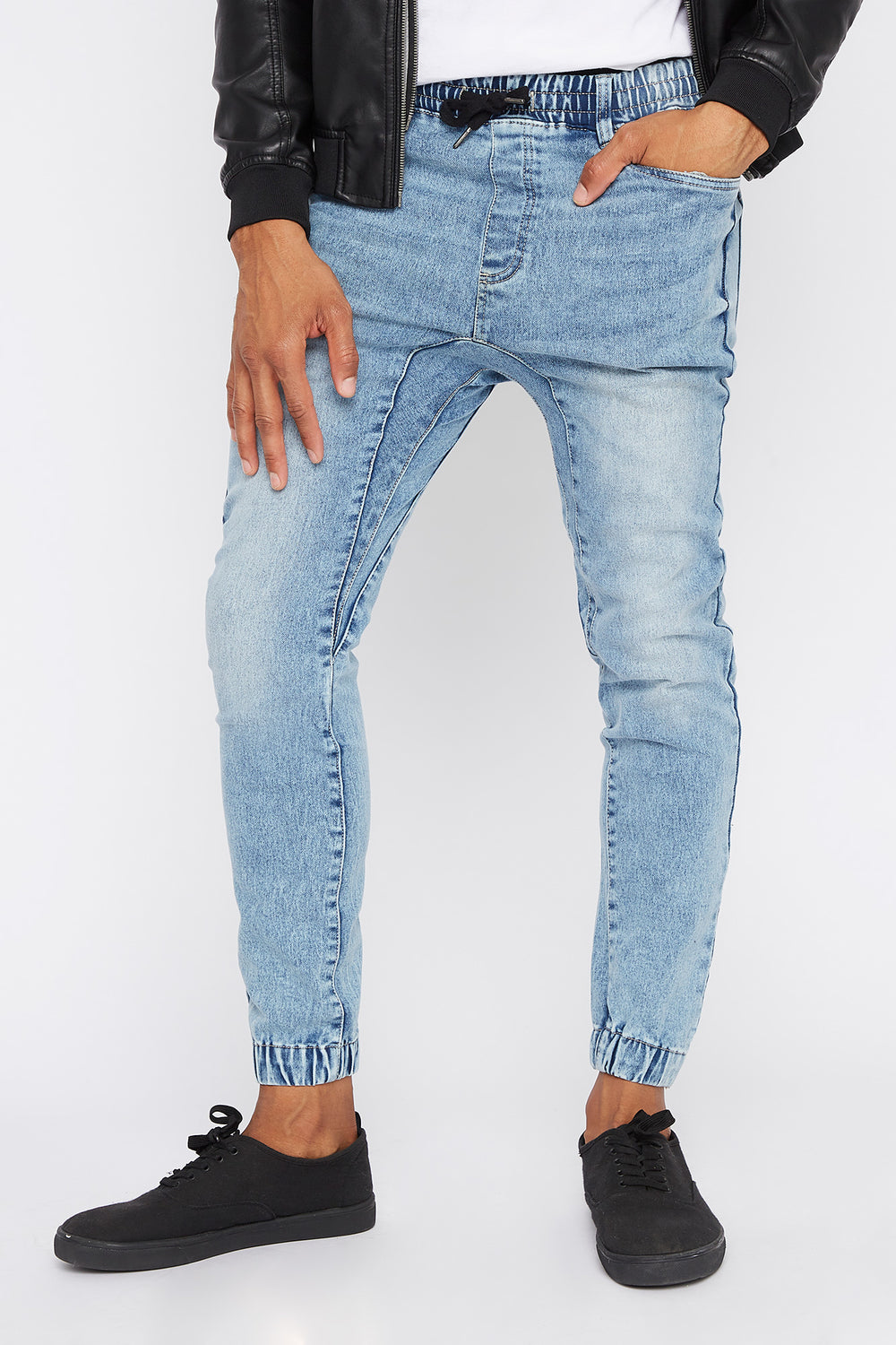 Acid Wash Denim Jogger Baby Blue