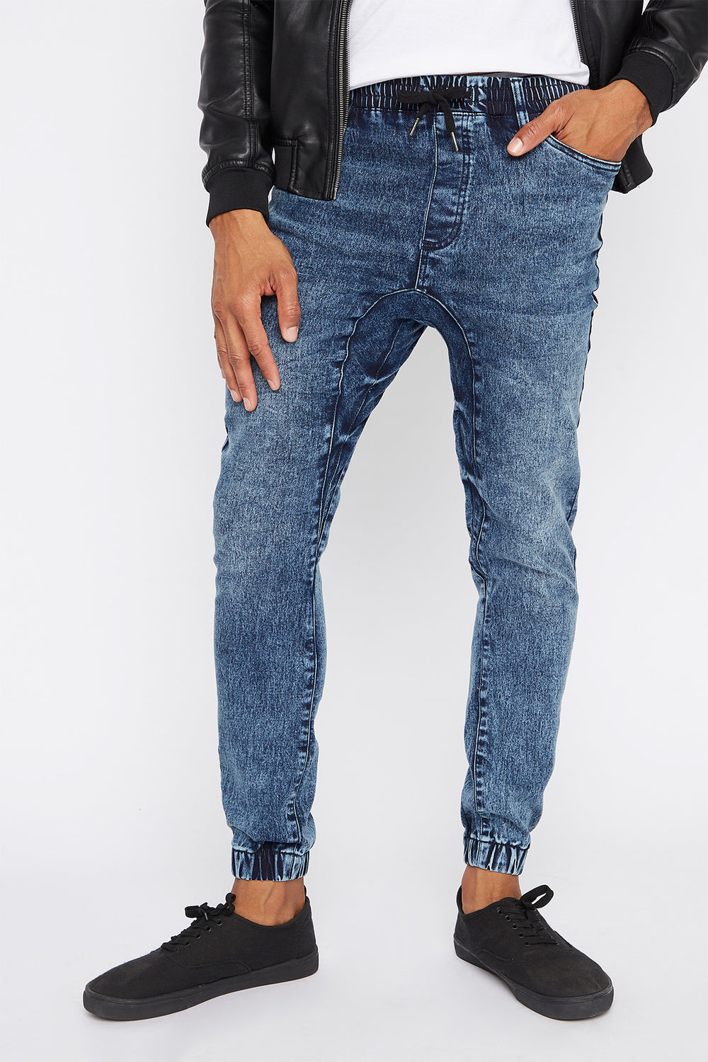 Acid Wash Denim Jogger Medium Blue