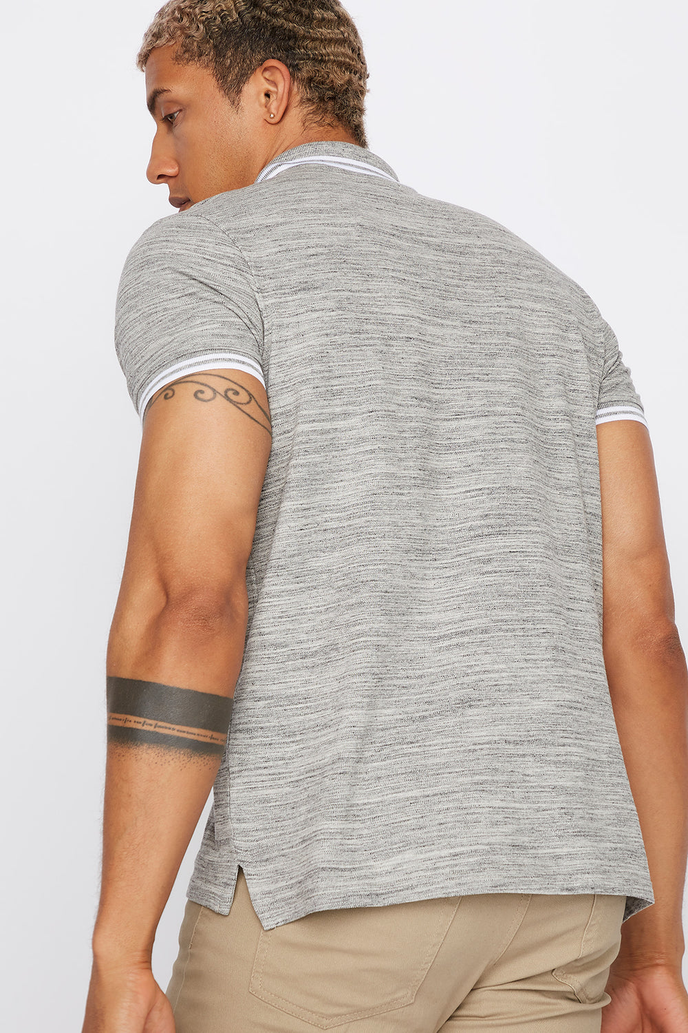 Space Dye Polo T-Shirt Charcoal