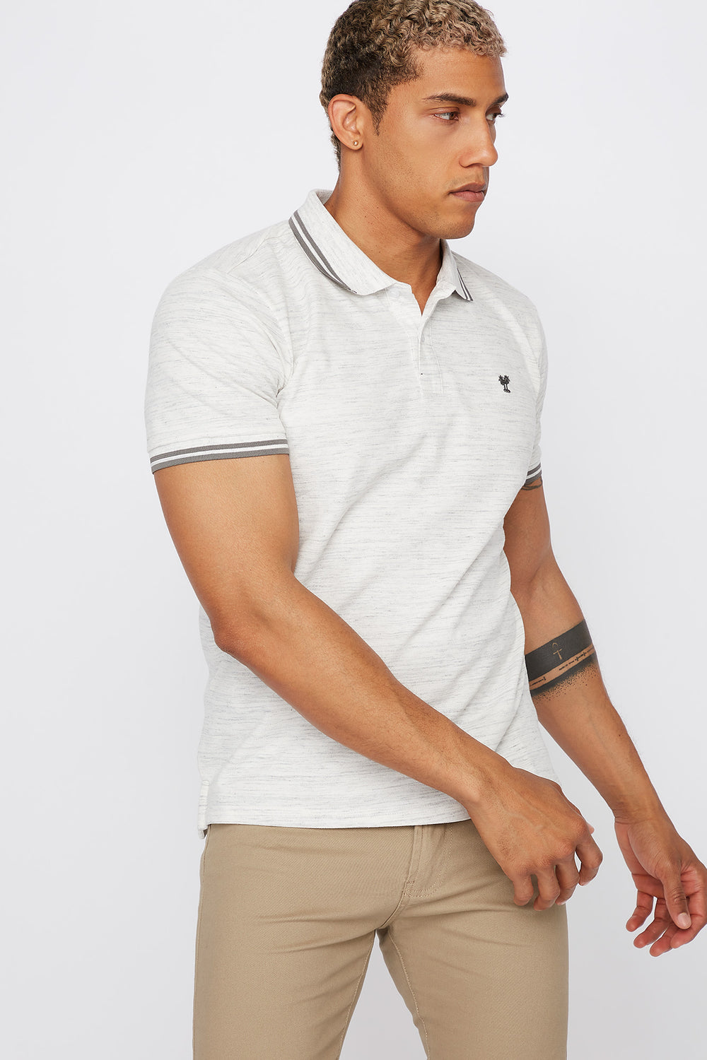 Space Dye Polo T-Shirt Oatmeal
