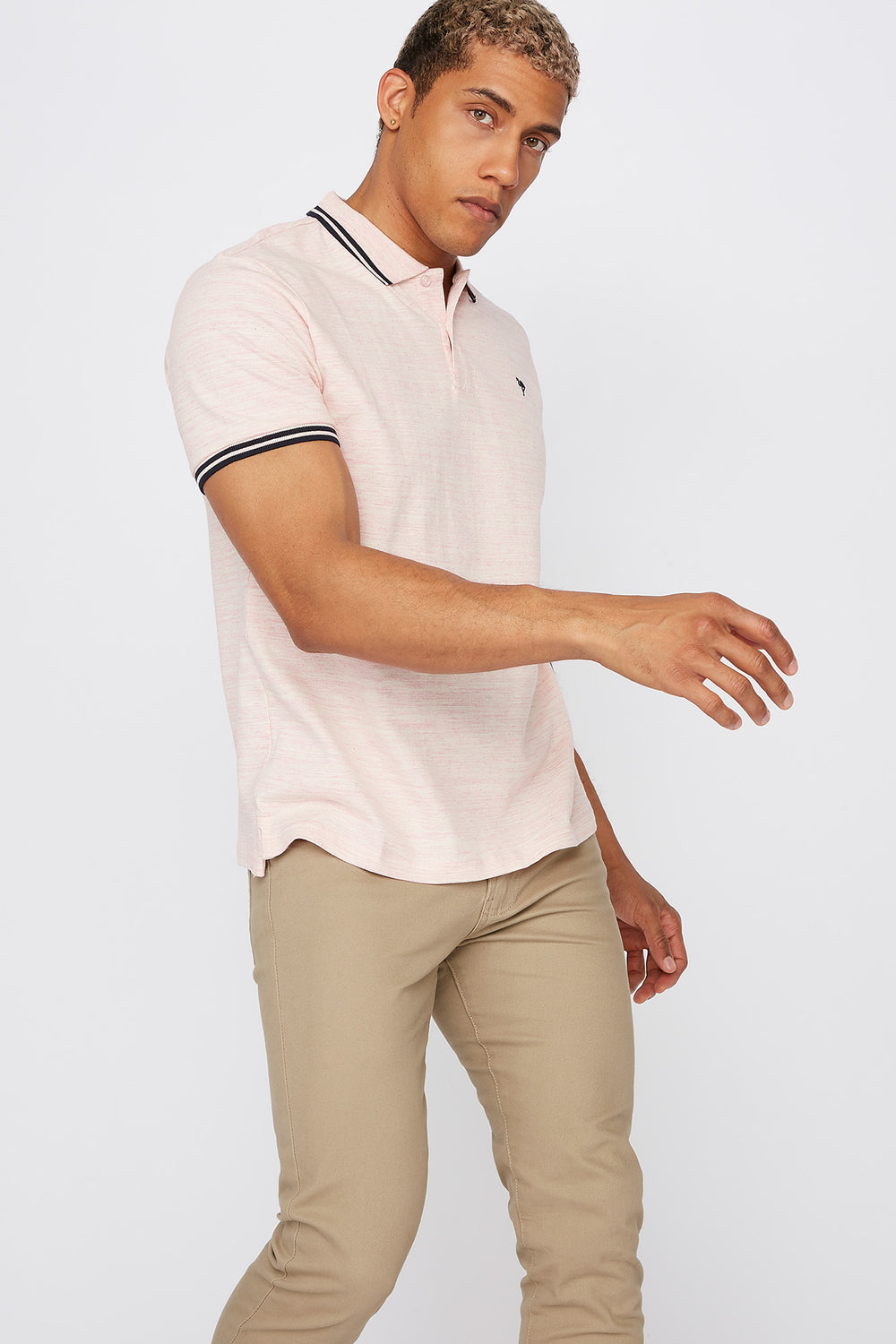 Space Dye Polo T-Shirt Light Pink