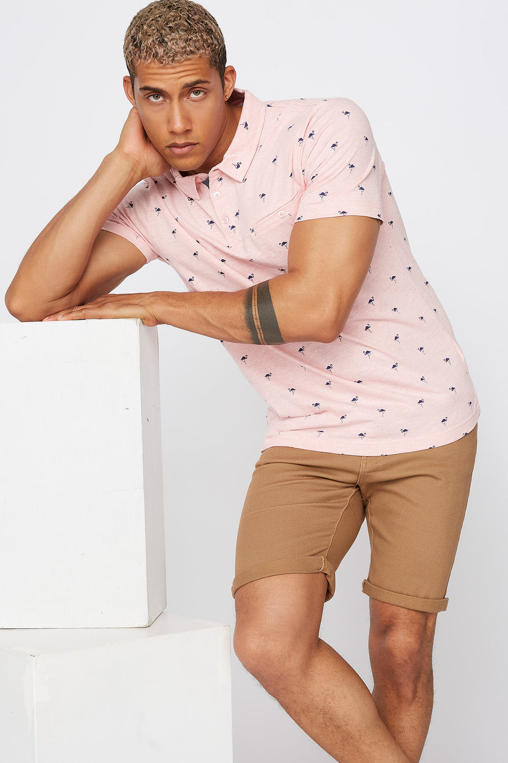 Micro Print Polo T-Shirt Light Pink