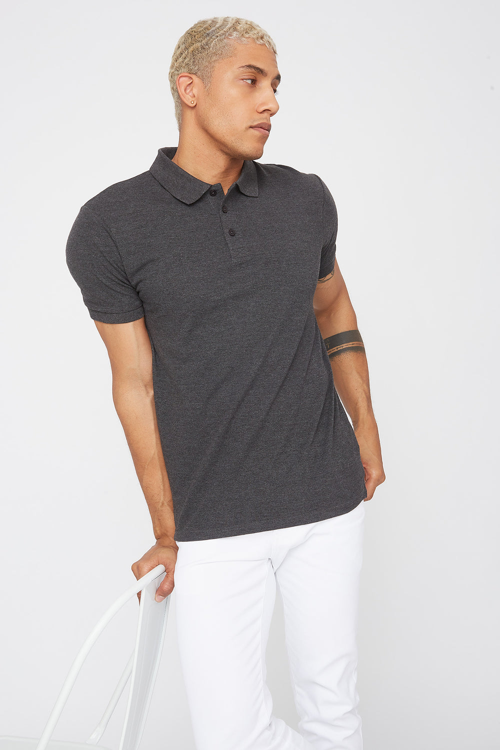 Solid Textured Polo T-Shirt Charcoal