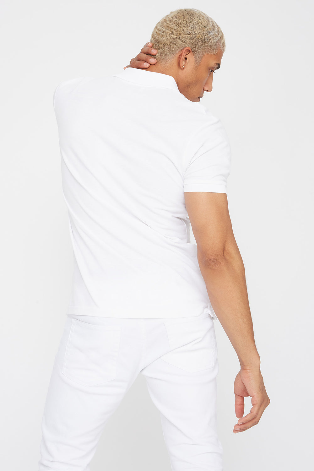 Solid Textured Polo T-Shirt White