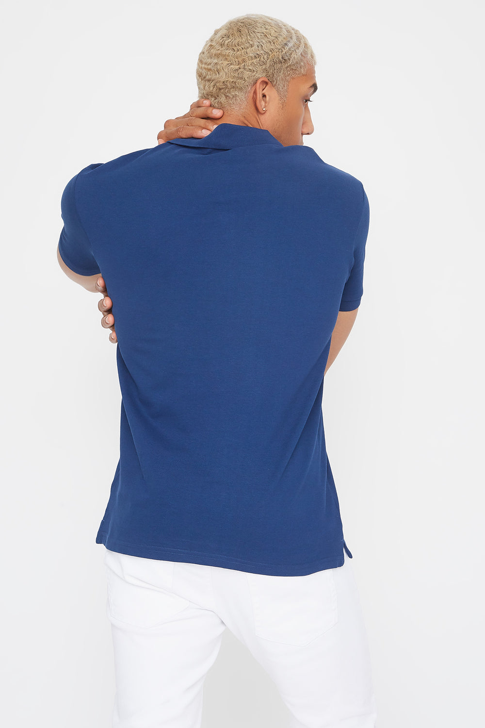 Solid Textured Polo T-Shirt Dark Blue