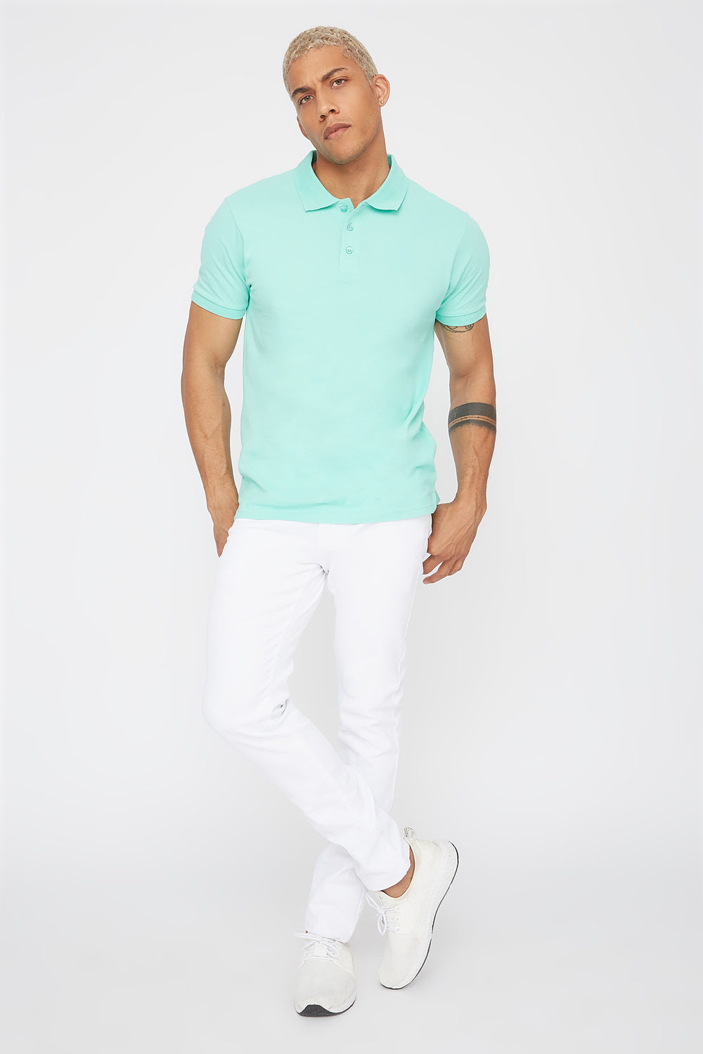 Solid Textured Polo T-Shirt Sage