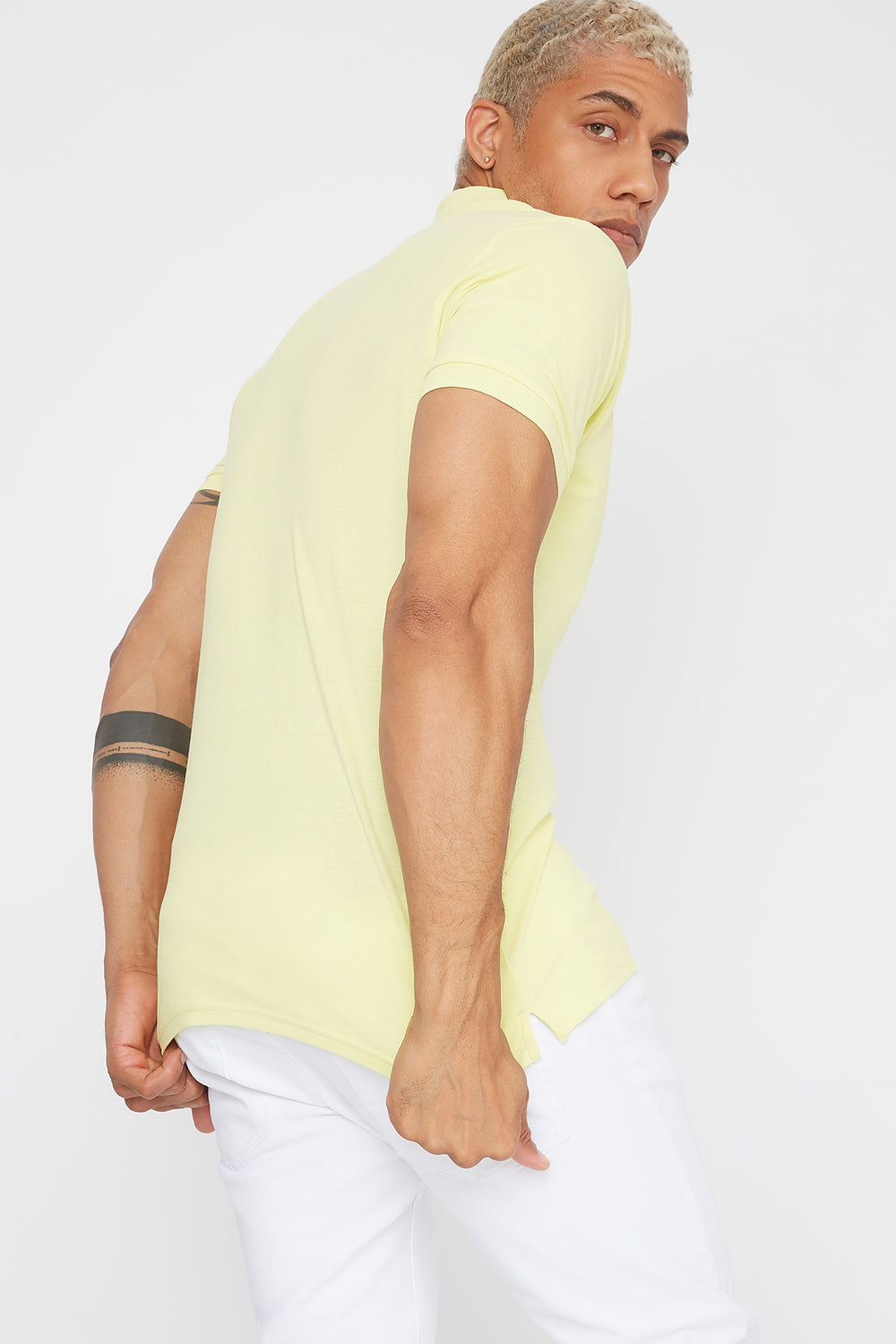 Solid Textured Polo T-Shirt Pale Yellow