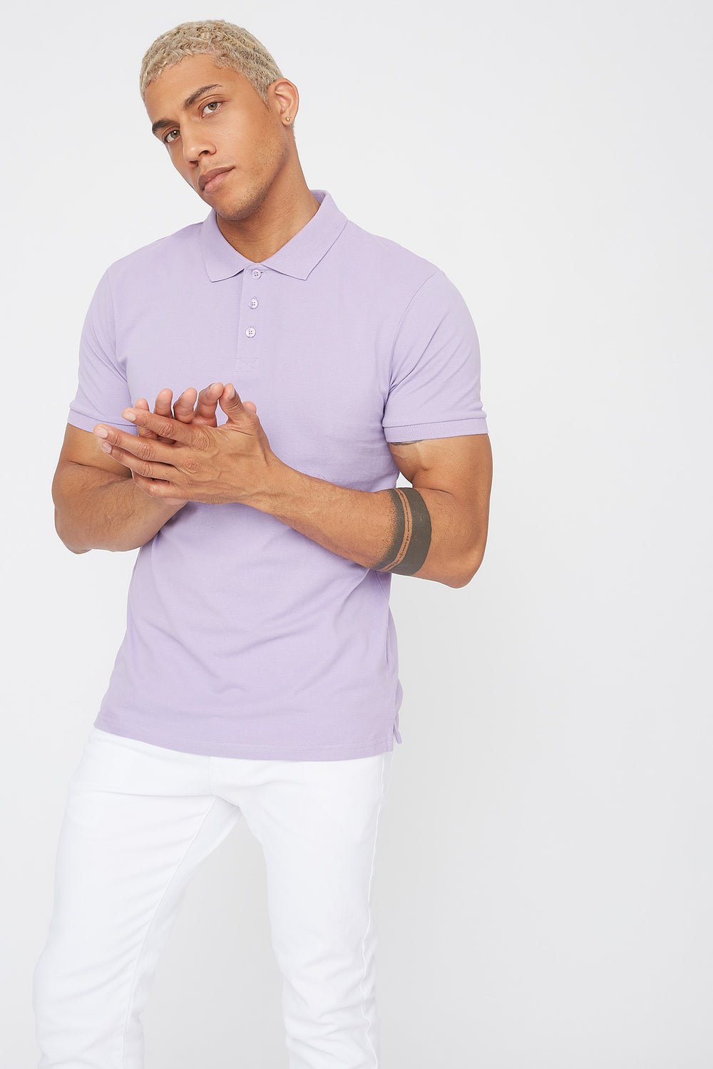 Solid Textured Polo T-Shirt Lilac