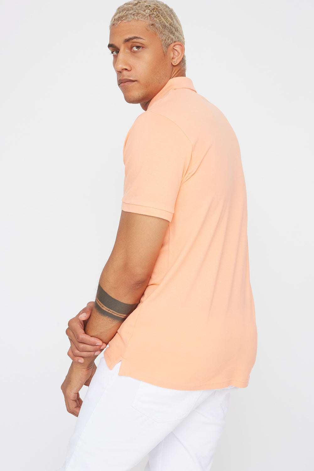 Solid Textured Polo T-Shirt Peach