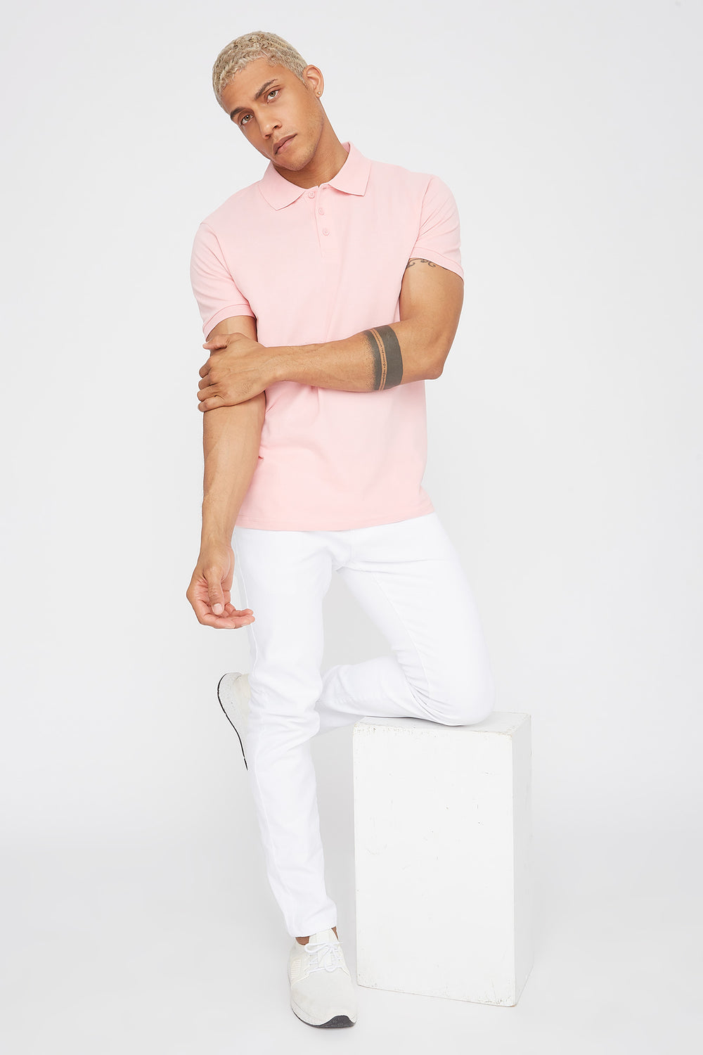 Solid Textured Polo T-Shirt Light Pink