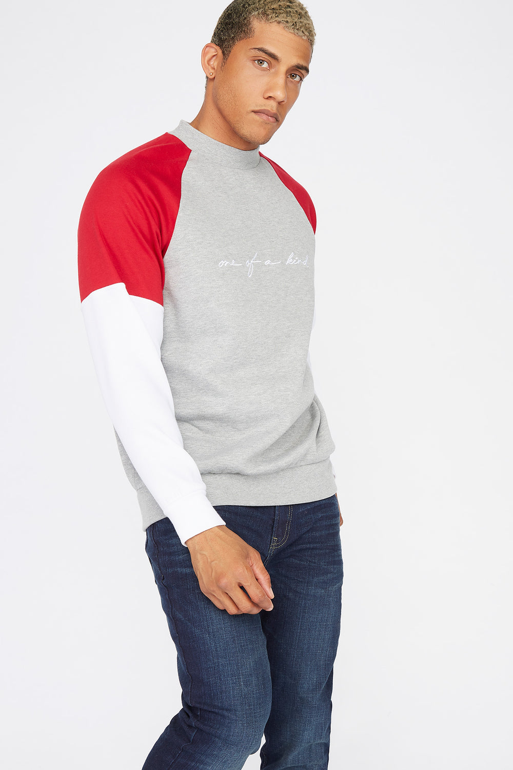 Colour Block One Of A Kind Graphic Sweatshirt Heather Grey