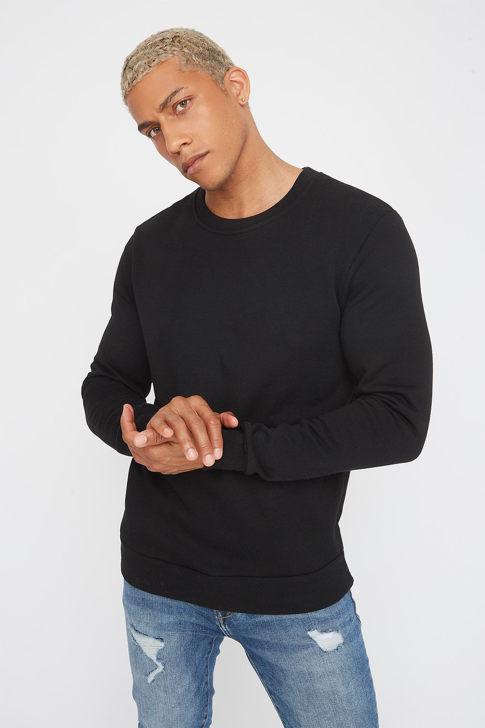 Solid Basic Crew Neck Sweater Black