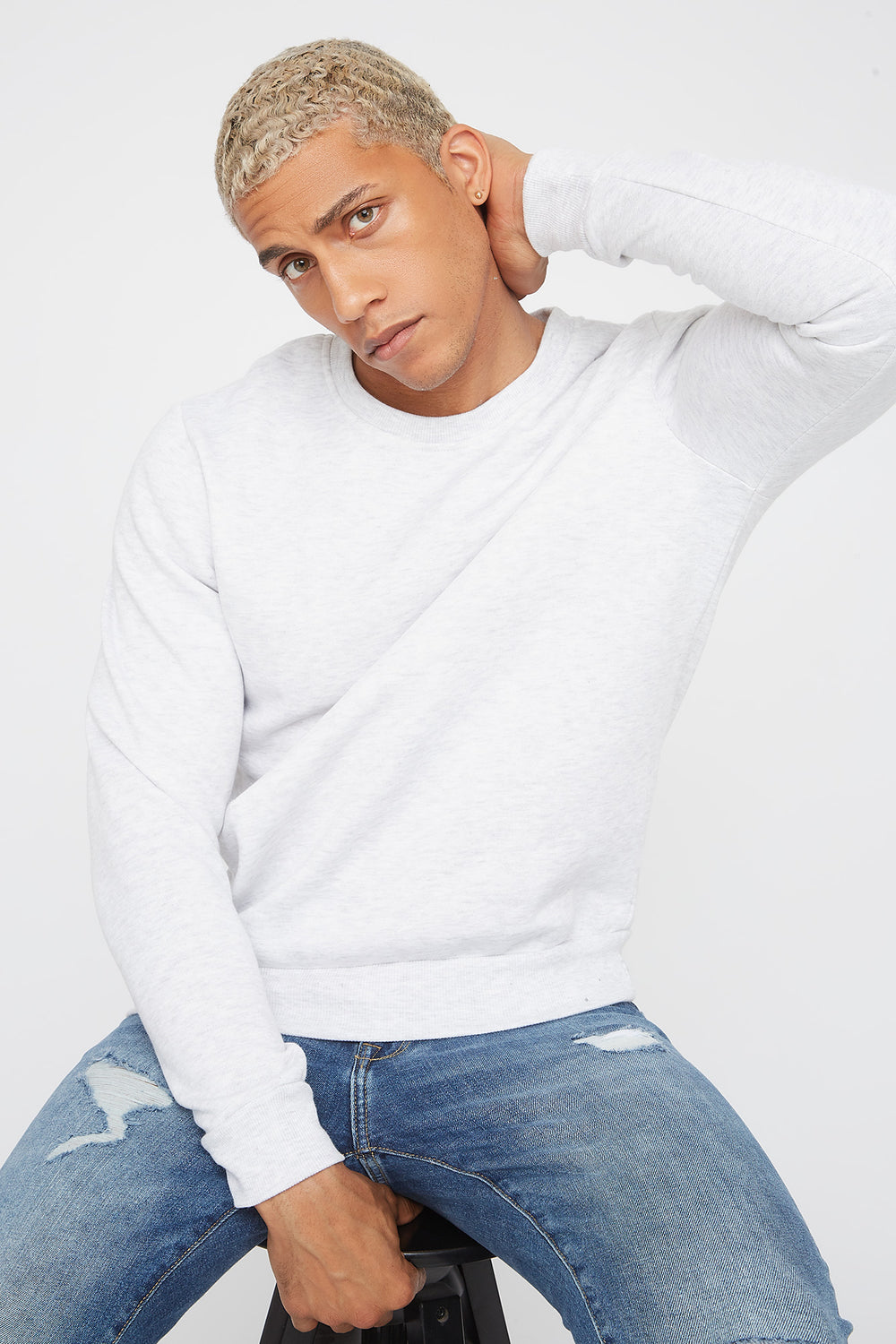 Solid Basic Crew Neck Sweater Oatmeal