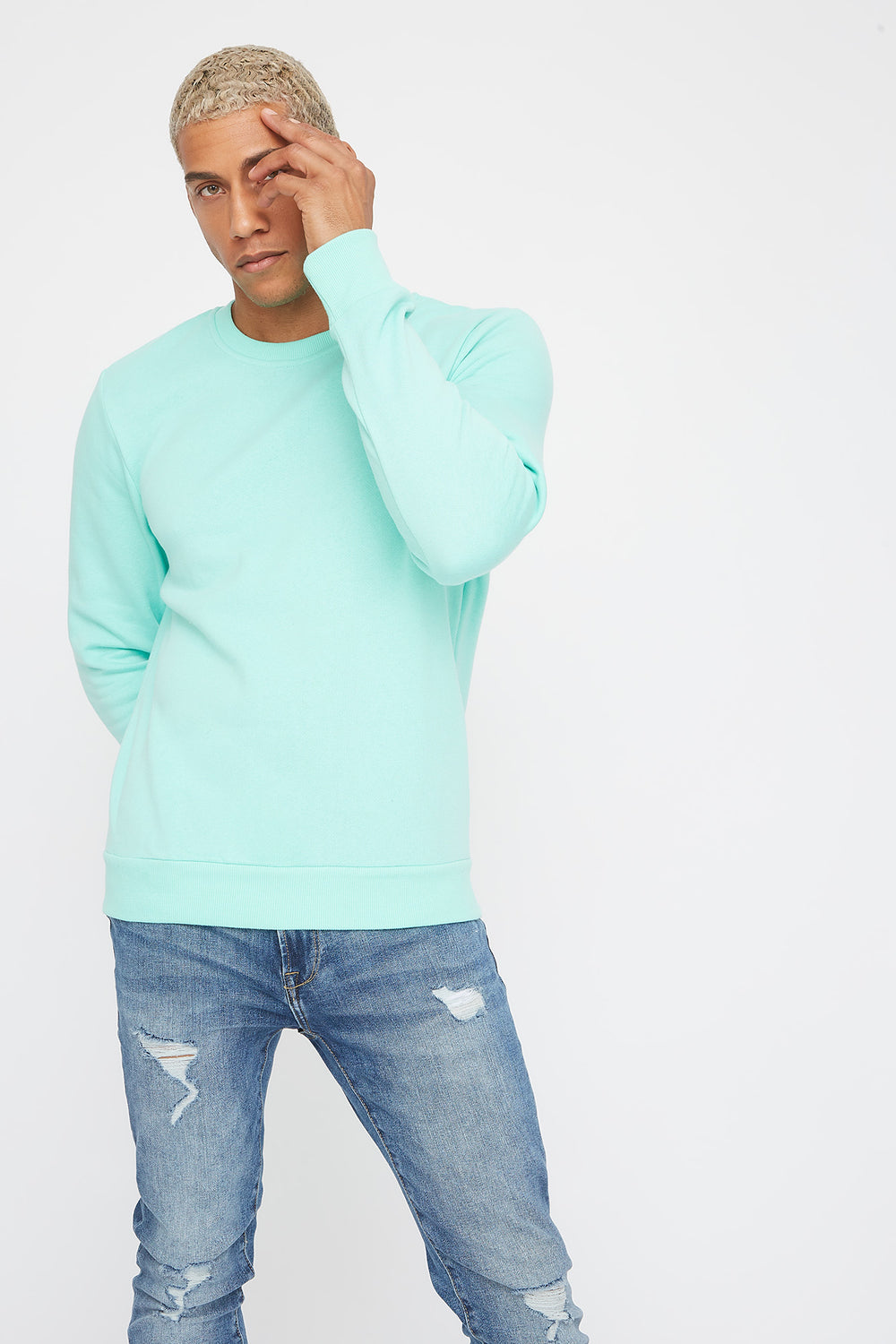 Solid Basic Crew Neck Sweater Sage