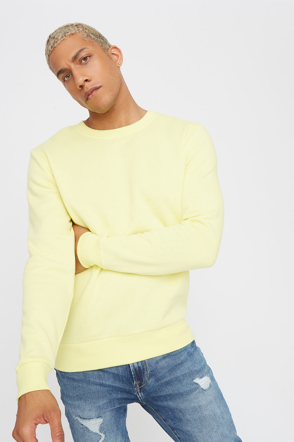 Solid Basic Crew Neck Sweater Pale Yellow