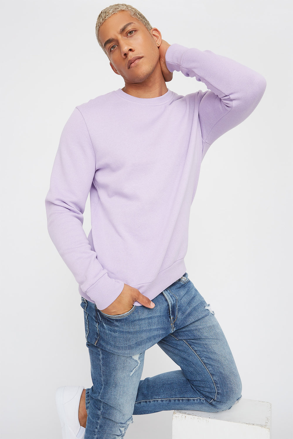 Solid Basic Crew Neck Sweater Lilac