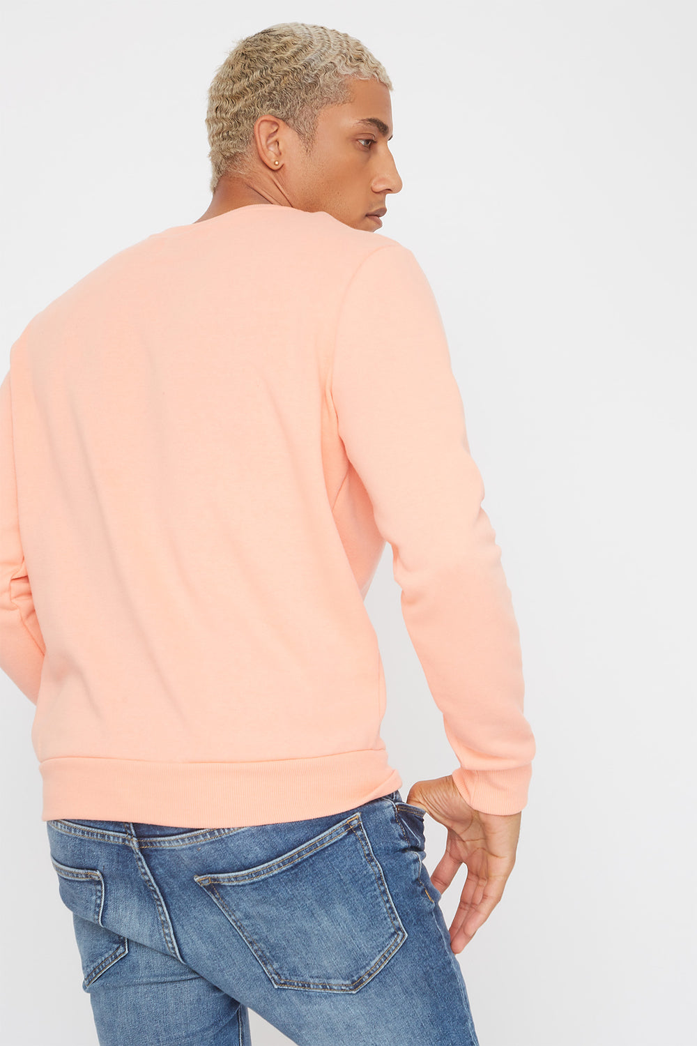 Solid Basic Crew Neck Sweater Peach