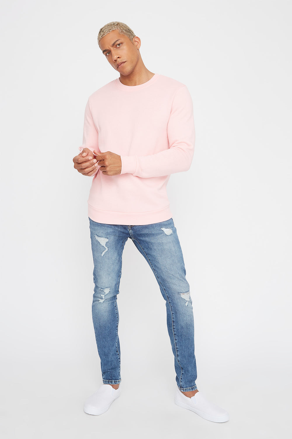 Solid Basic Crew Neck Sweater Light Pink