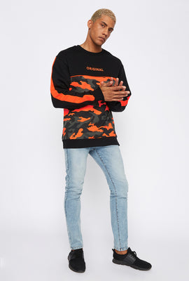 Graphic Contast Neon Camo Crew Neck Sweater