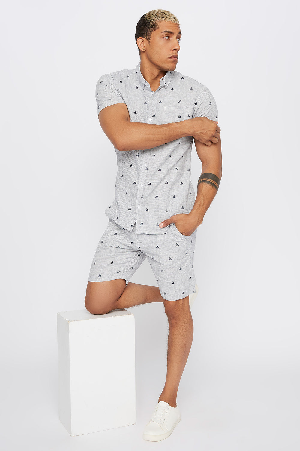 Printed Linen Slim Short Light Grey