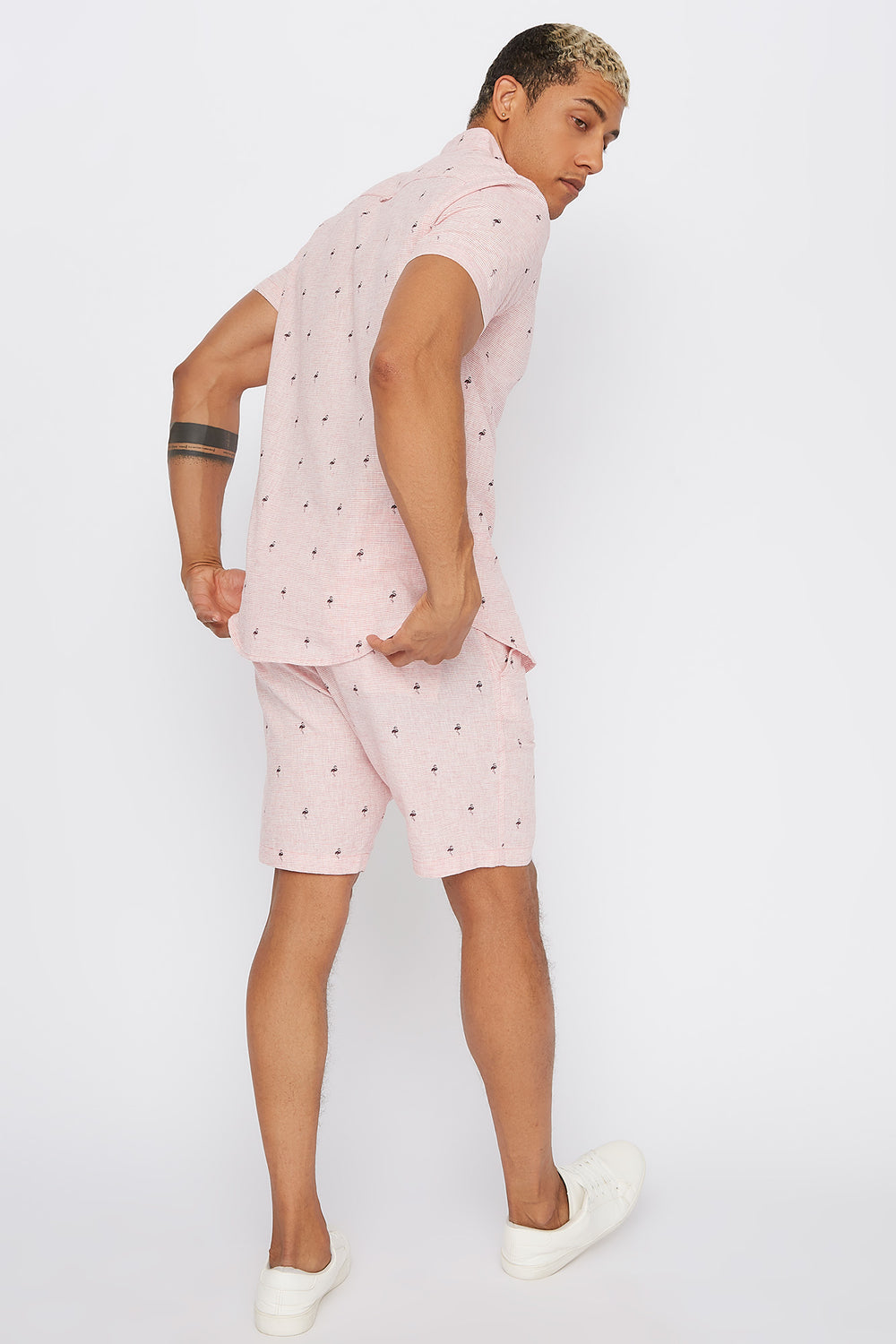 Printed Linen Slim Short Rose