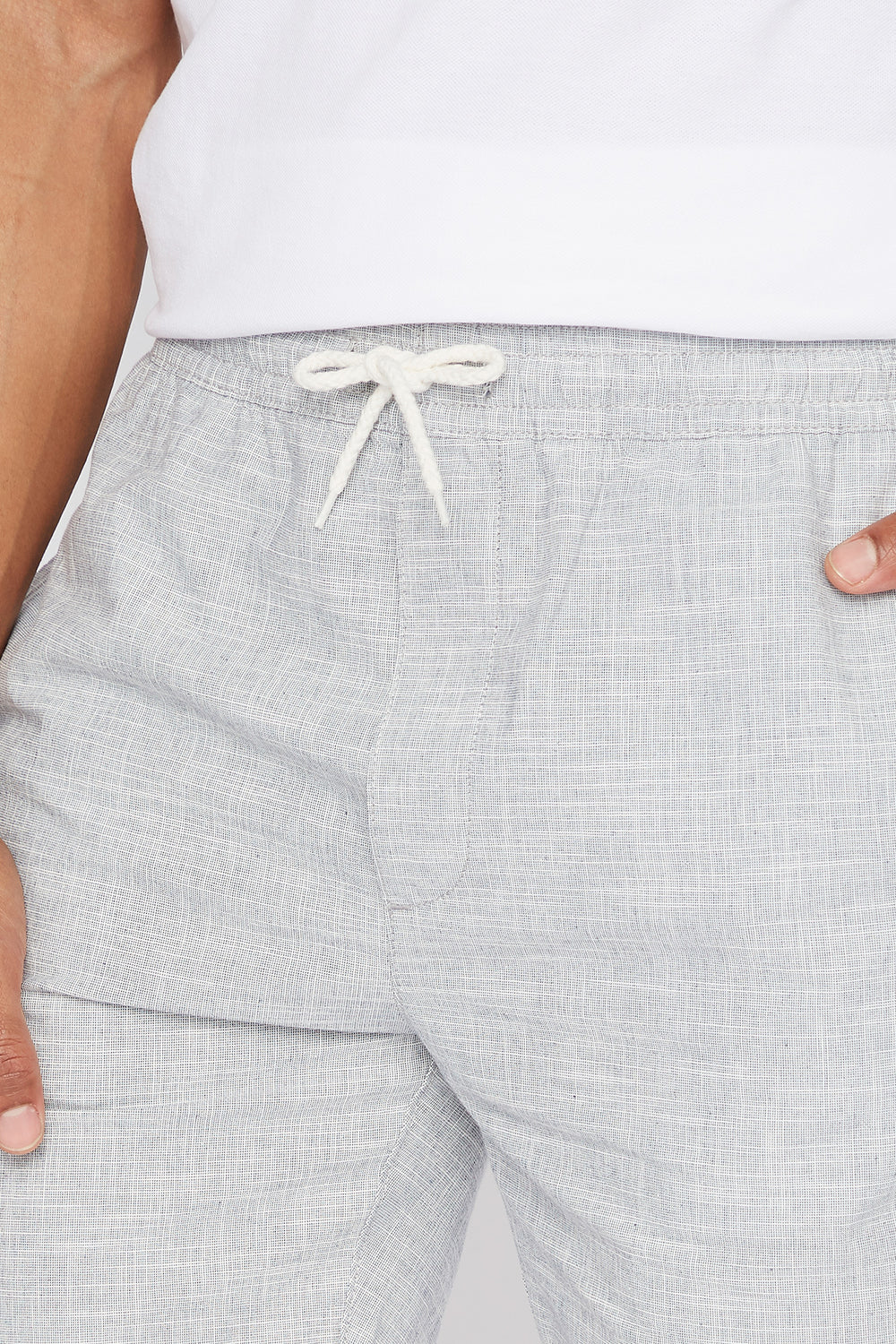 Pull-On Drawstring Roll-Up Easy Short Light Grey