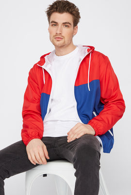 Colour Block Zip-Up Windbreaker Jacket